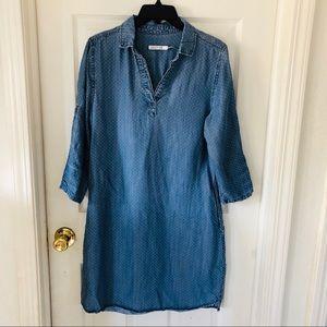 Kenneth Cole Jean chambray polkadot denim dress